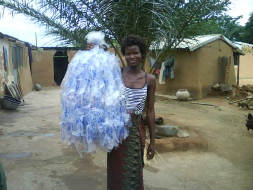 Holding a bunch of 350 cut plastic bags