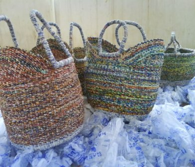 Recycled Bolga Baskets on sea of plastic
