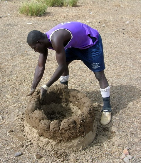 Building the Mud Wall to Protect Neem Seedling Ghana